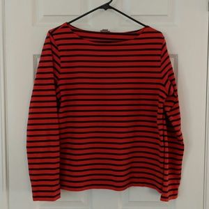 J. Crew striped boatneck thick long sleeve tee